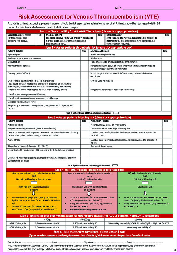 TP Risk Assessment Form CUH 2017
