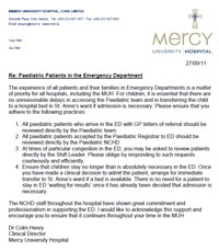 Letter Re Paediatric Cases in MUH Emergency Department
